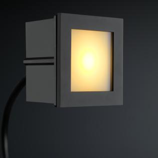 Cree LED trapverlichting Bilbao | zwart | vierkant | warmwit | 1 watt L2172