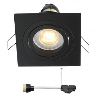 Coblux LED inbouwspot | zwart | vierkant | warmwit | 5 watt | dimbaar | kantelbaar L2155