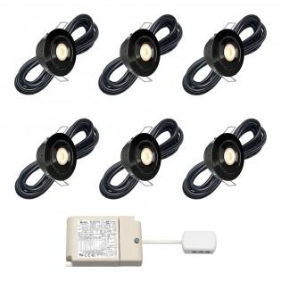 Cree LED veranda inbouwspot Toledo zwart rts | kantelbaar | warmwit | set van 6, 8, 10 of 12 stuks L2243