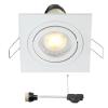 Coblux LED inbouwspot   wit   vierkant   warmwit   5 watt   dimbaar   kantelbaar
